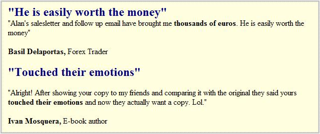 Copywriter testimonial number 492....