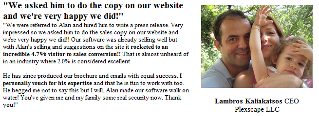 copywriter testimonial