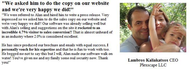 copywriter testimonial